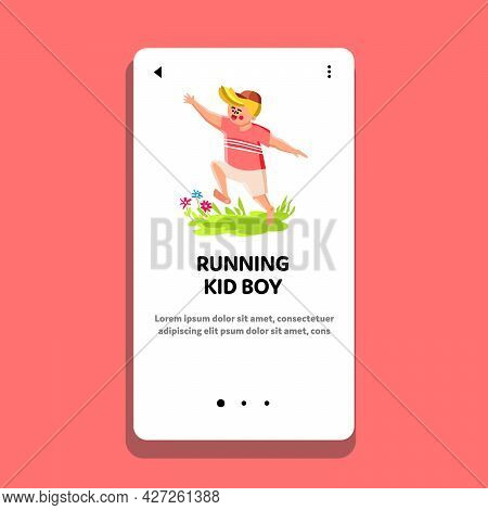 Kid Boy Running On Green Grass Meadow Vector. Happy Barefoot Kid Boy Running Outside, Schoolboy Run