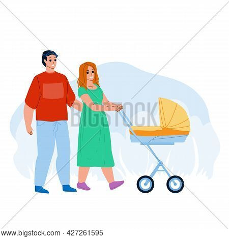 Parents Walking With Kid Stroller Together Vector. Young Father And Mother Walk With Newborn Baby St
