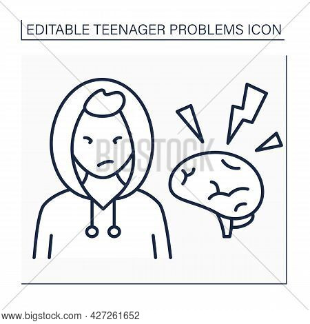 Emotional Flashes Line Icon. Positive And Negative Emotions. Aggressive Behaviour. Hot Flashes And A