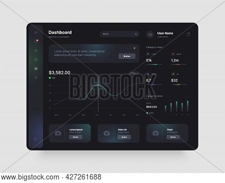 Dashboard Design In Dark Colors. App Interface With Ui And Ux Elements. Use Design For Web Applicati