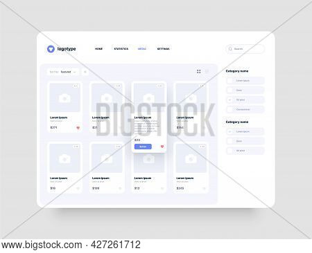 Concept App Interface For Online Store, Hotel Booking Or Social Media. Dashboard Design With Ui And