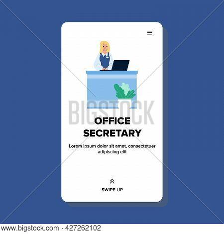 Office Secretary Working At Reception Desk Vector. Woman Office Secretary Work At Table With Compute