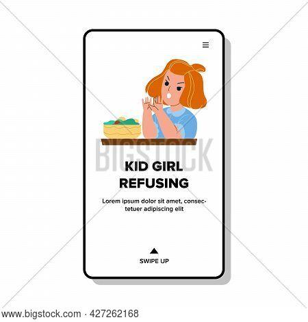 Kid Girl Refusing Eat Natural Salad Meal Vector. Angry Kid Girl Refusing Eating Vegetarian Vegetable