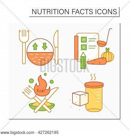 Nutrition Facts Color Icons Set. Serving Size, Ingredient, Calories, Sugar Alcohols. Nutrition Facts
