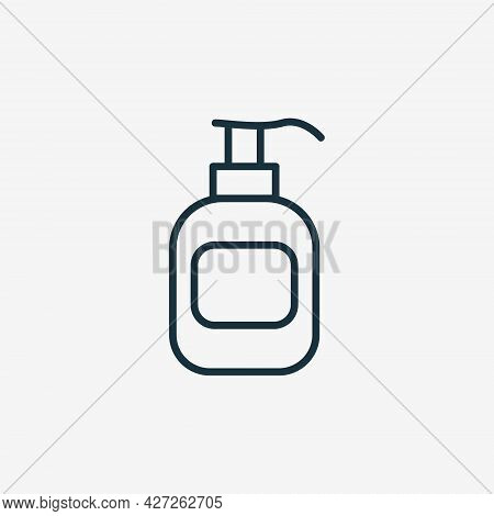 Sanitizer Bottle With Pump Line Icon. Disinfect Gel For Hand Wash Linear Pictogram. Antibacterial Li