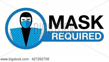 Mask Required, No Entry Without Mask Comic Sticker - Cartoon Person Silhouette In Virus Protective E