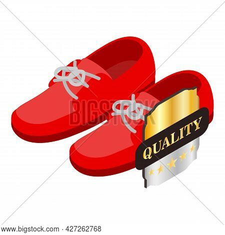 Red Moccasins Icon Isometric Vector. Female Red Suede Shoe With Laces. Quality Five Star Sign