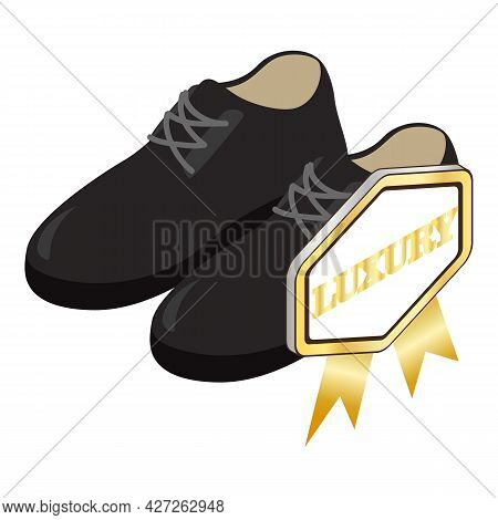 Oxford Shoes Icon Isometric Vector. Classic Leather Black Men Shoes With Lacing. Luxury Quality Sign