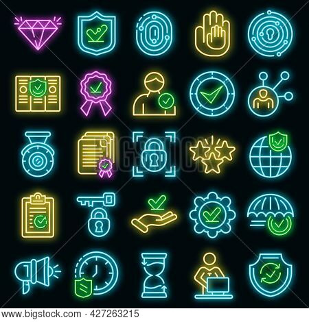 Reliability Icons Set. Outline Set Of Reliability Vector Icons Neon Color On Black
