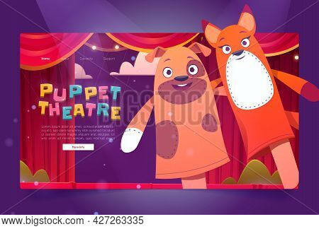 Puppet Theater Cartoon Landing Page With Funny Dolls Perform Show For Children On Stage With Red Cur