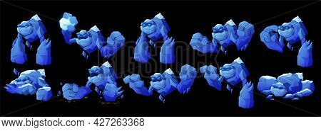 Ice Golem Character In Different Poses Isolated On Black Background. Vector Cartoon Set Of Big Cryst