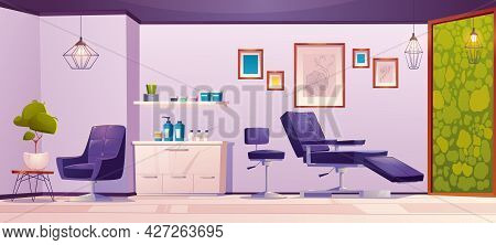 Tattoo Studio Or Beauty Salon Interior. Modern Empty Room With Armchairs For Client And Master, Cosm