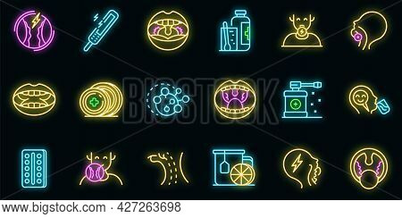 Tonsillitis Icons Set. Outline Set Of Tonsillitis Vector Icons Neon Color On Black