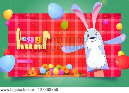 Egg Hunt Banner. Concept Of Easter Celebration, Spring Holiday Event. Vector Landing Page With Carto