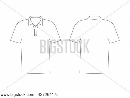Mens White T-shirt Outline Template With Short Sleeve And V Polo Neck. Shirt Mockup In Front And Bac