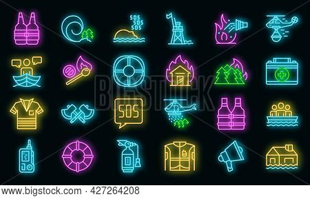 Rescuer Icons Set. Outline Set Of Rescuer Vector Icons Neon Color On Black