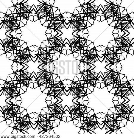 Sketch Mandala Pattern Seamless In Abstract Style On White Background. Vector Texture Of A Mandala I