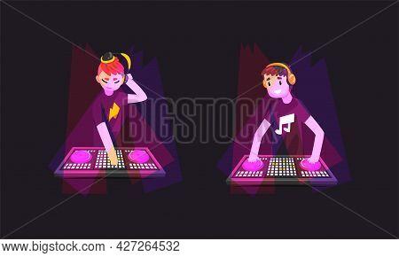Dj Playing Progressive Electro Music At Nightclub Set, Dj In Headphones Standing At Electronic Turnt