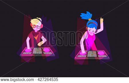 Dj Playing Progressive Electro Music At Nightclub Set, Male And Female Dj Making Modern Music At Ele