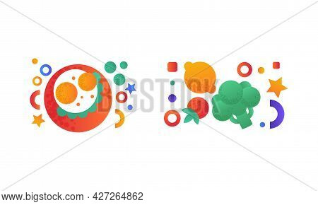 Healthy Meal Set, Fried Eggs, Lemon, Tomato And Broccoli Flat Vector Illustration