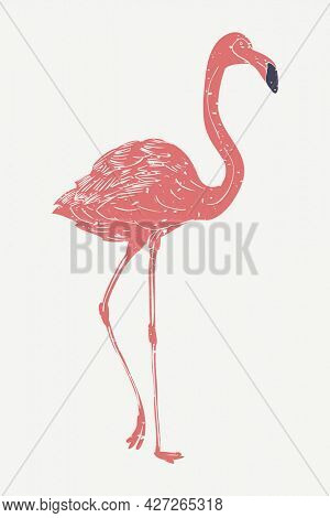 Muted red flamingo linocut in cute illustration