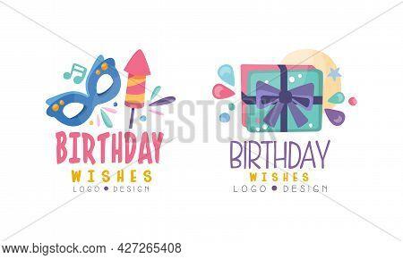 Birthday Wishes Logo Templates Set, Birthday Celebration Hand Drawn Badges, Banner, Poster, Card, T-