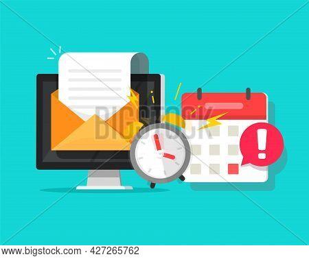 Deadline Online Task Concept Notified Via Calendar Alarm Notice And Email Message Flat Cartoon Vecto
