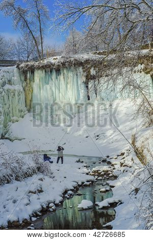 Two Men Viewing Minnehaha Falls