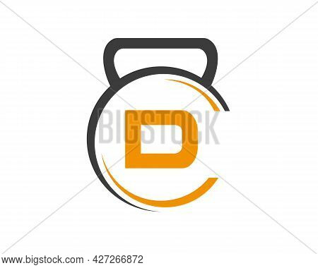 Fitness Logo With D Letter Concept. Gym Logo With D Letter.