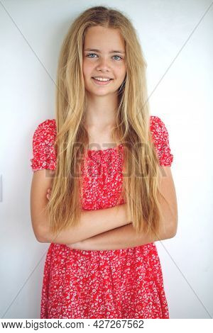 Teenage Girl. Happy Girl With Freckles Smiling Looking At Camera. White Background. High Quality Pho