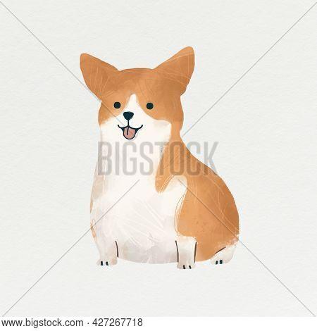 Corgi dog illustration on white background