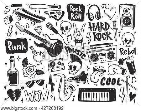 Rock N Roll, Punk Music Doodle Set. Graffiti, Tattoo Hand Drawn Sticker, Text, Skull, Heart, Skate,