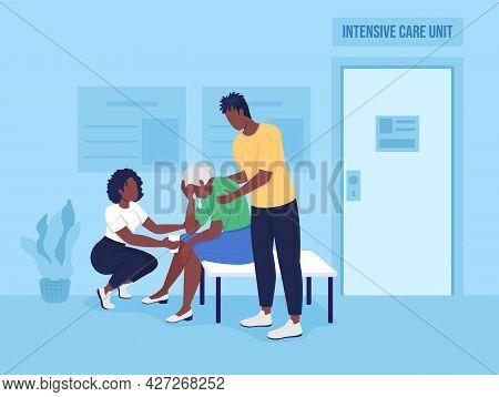 Sad Family In Hospital Flat Color Vector Illustration. Teenagers Comfort Grandma. Getting Emotional