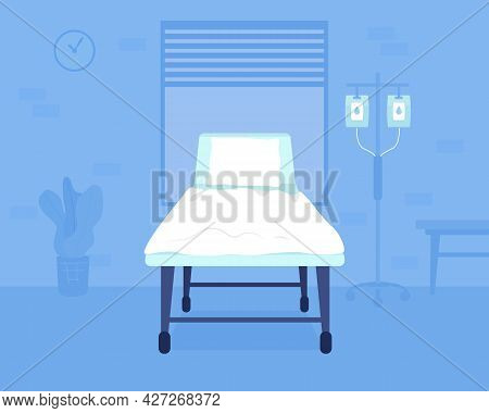 Hospital Bed Flat Color Vector Illustration. Hospitalizing Patients With Severe Health Problems. Cli