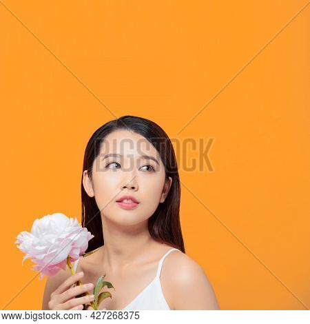 Girl Holding Flower Peony Wearing White Clothes
