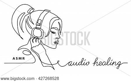 Asmr Concept.girl, Woman In Headphones Simple Vector Banner, Poster, Background. One Continuous Line