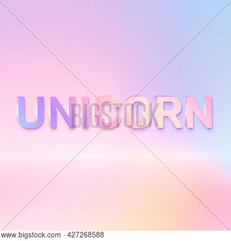 Unicorn word in holographic text style