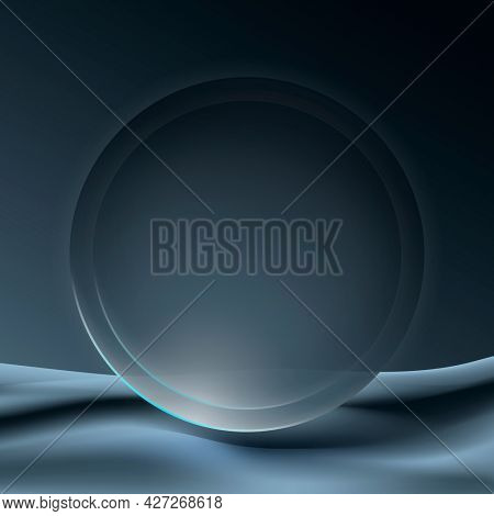 Aesthetic circle frame background in gray futuristic minimal style