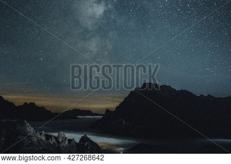 Starry night nature background with mountains aesthetic remixed media