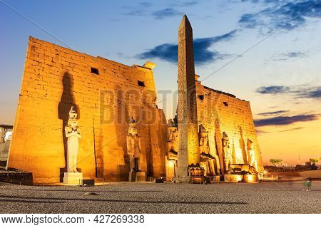 Pylon With Obelisk In Luxor Temple, Beautiful Evening View, Egypt.