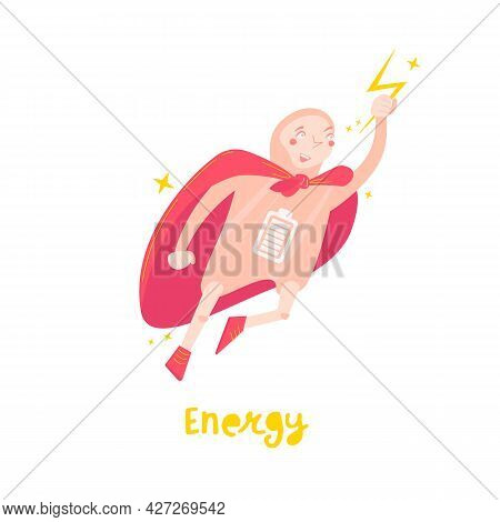 Body Energy Cartoon Character In A Trendy Style.
