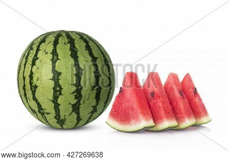 Watermelon And Slice Watermelon Isolated On White Background