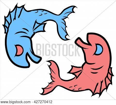 Happy Sad Fish, Cartoon Color Vector Illustration, Horizontal, Over White, Isolated