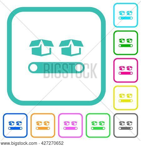 Conveyor With Boxes Vivid Colored Flat Icons In Curved Borders On White Background