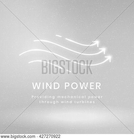 Wind power environmental logo with text