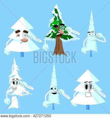 Cartoon Winter Pine Trees With Faces Holding A Magnifying Glass. Cute Forest Trees. Snow On Pine Car