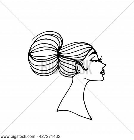Profile Portrait Of Young Beautiful Girl With Hair Bun. Hand Drawn Doodle Fashion Vector Isolated On