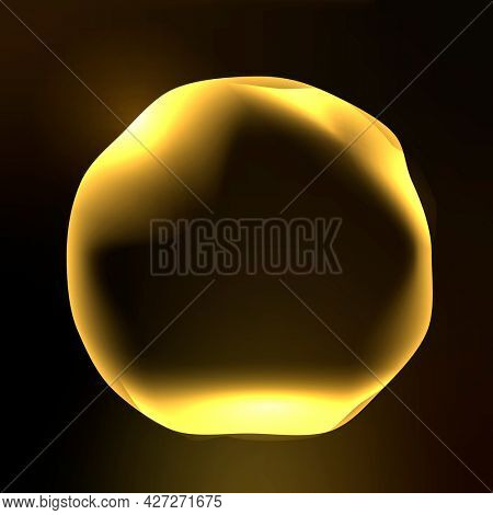 Virtual assistant technology circle graphic in neon gold