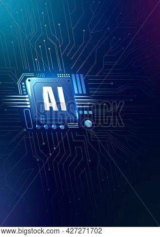 AI technology microchip background digital transformation concept