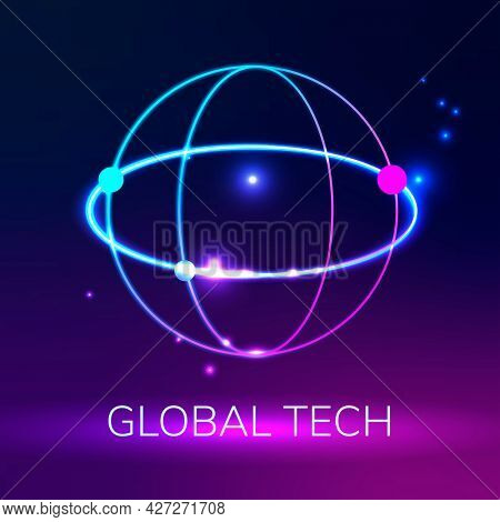 Global network logo with global tech text in purple tone